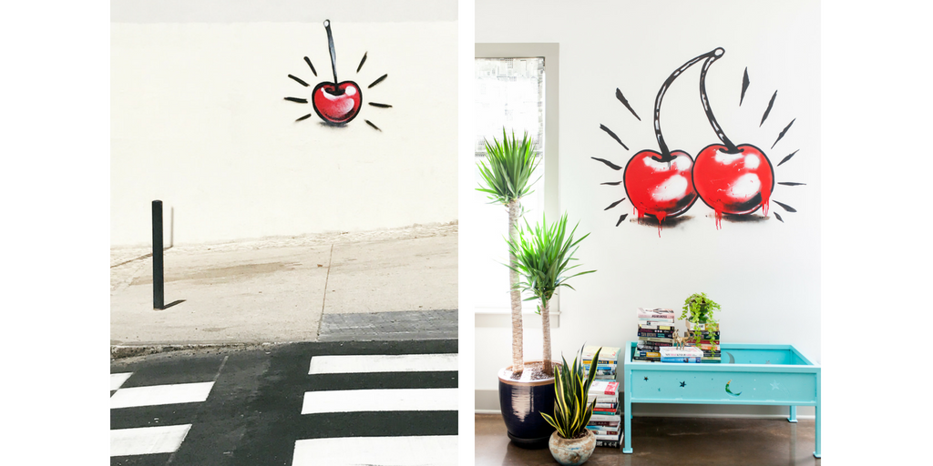 cherry graffiti in Lisbon that inspired Kendall Simmon's wall art in her home